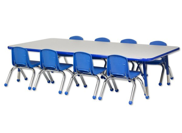 9 Piece Rectangular Activity Table & 18 Chair Set by ECR4kids