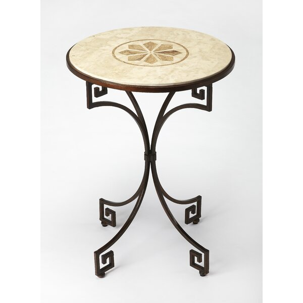 Deweese Fossil Stone End Table by Fleur De Lis Living
