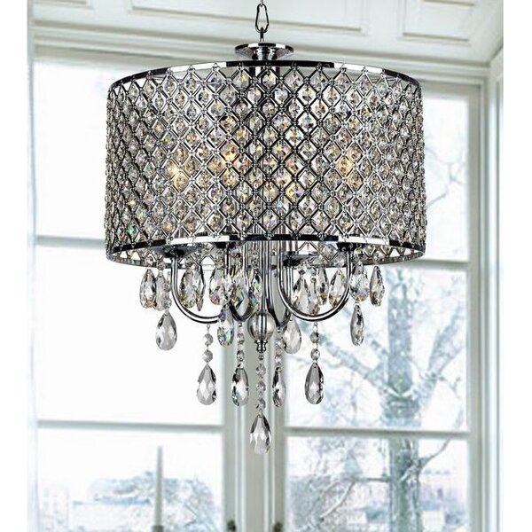 Aurore 4 - Light Drum Chandelier with Wrought Iron Accents by Willa Arlo Interiors Willa Arlo Interiors