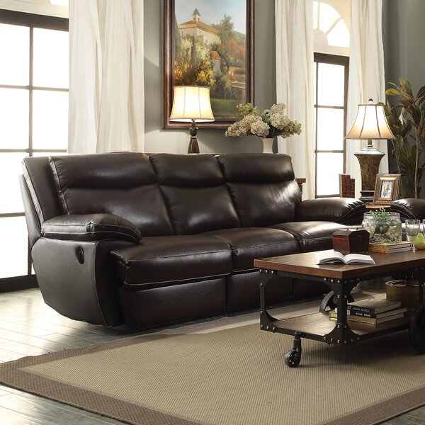 Highest Quality Hughes Leather Reclining Sofa by Red Barrel Studio by Red Barrel Studio