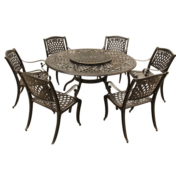 Cassel Rose Traditional Outdoor Mesh Lattice 7 Piece Dining Set by Fleur De Lis Living