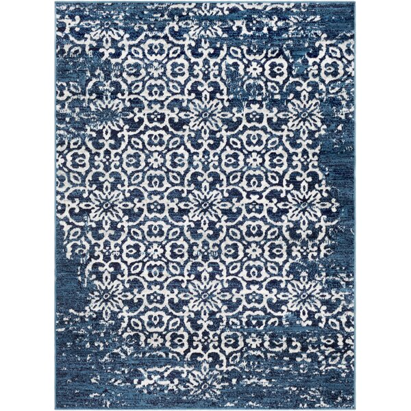 Ranck Distressed Navy/Cyan Area Rug by Bungalow Rose