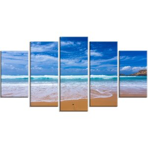 'Serene Atlantic Seashore Portugal' 5 Piece Photographic Print on Wrapped Canvas Set by Design Art