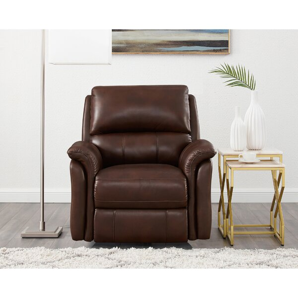 Genie Leather Power Wall Hugger Recliner By Winston Porter