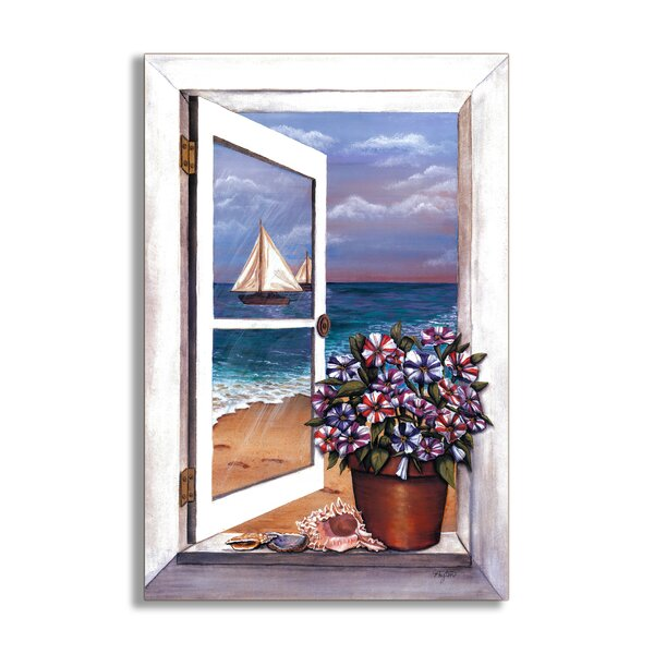Seascape with Petunias Faux Window Scene Painting Wall Plaque by Stupell Industries