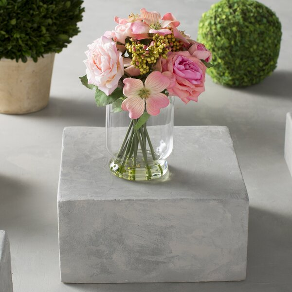 Rose/Berry Floral Arrangements in Decorative Vase by Nearly Natural