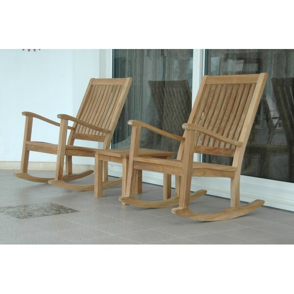 Bahama Teak Side Table with Del-Amo Rocking Armchair by Beachcrest Home