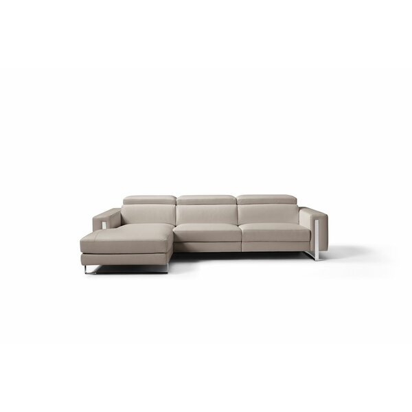 Mindaugas Leather Sectional by Orren Ellis