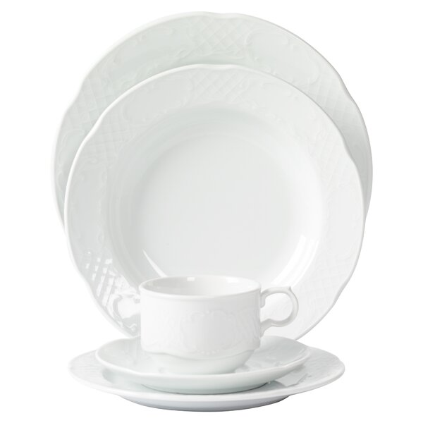 Flora Scalloped Embossed Porcelain 20 Piece Dinnerware Set, Service for 4 by Mitterteich