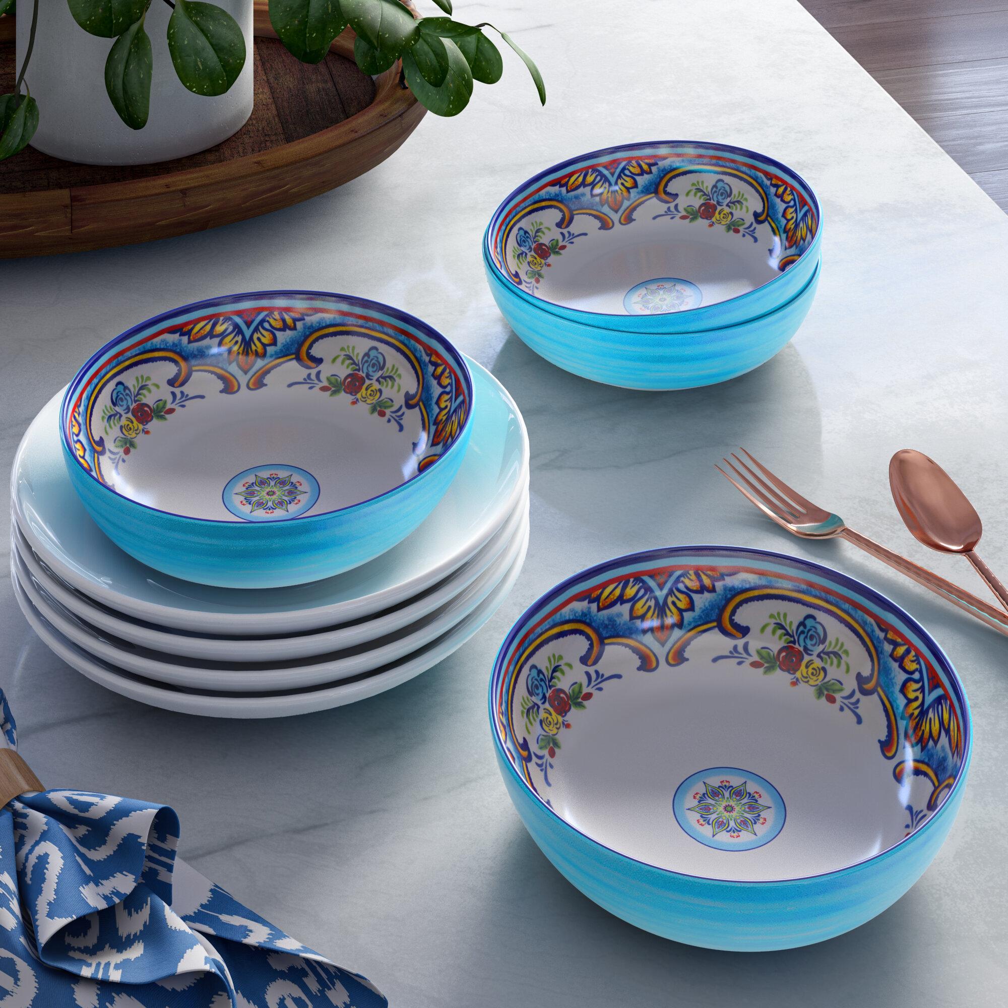 Petal and Stone Blue Floral Garden Toile Melamine Soup Salad Pasta Bowls Set 4