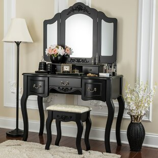 Comparison Brashears Beauty Station Makeup Table and Wooden Stool Vanity Set By House of Hampton