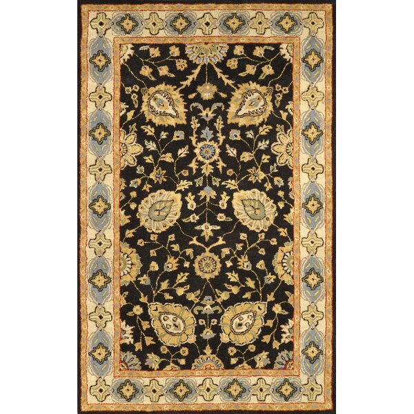 Caroline Hand-Woven Wool Black Area Rug by nuLOOM