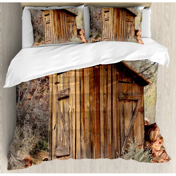 Outhouse Old Wooden Shed in the Outback Country Side with Olive Trees Duvet Set by Ambesonne