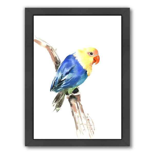 Blue Yellow Lovebird Framed Painting Print by Bay Isle Home