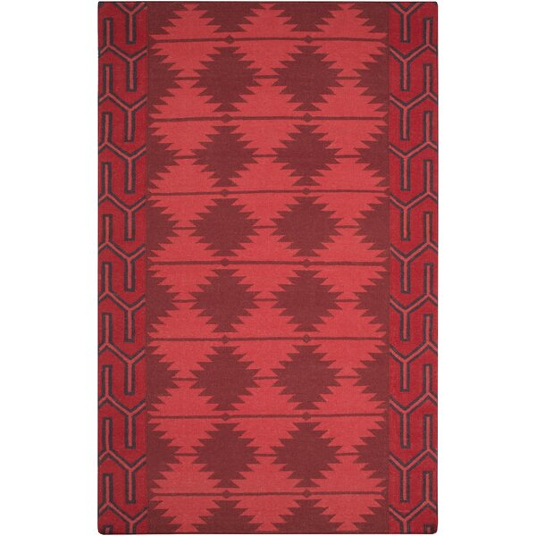 Lewis Hand Woven Wool Burgundy/Red/Black Area Rug by Union Rustic