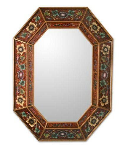 Unique Reverse Painted Glass Wood Wall Mirror by Novica
