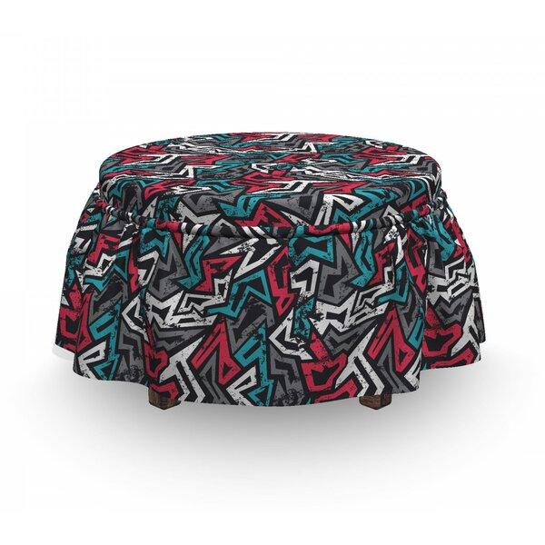 Grunge Hip Hop Culture Graffiti 2 Piece Box Cushion Ottoman Slipcover Set By East Urban Home