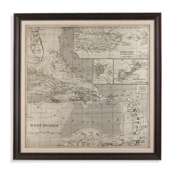 Map of Caribbean Framed Graphic Art by Bay Isle Home
