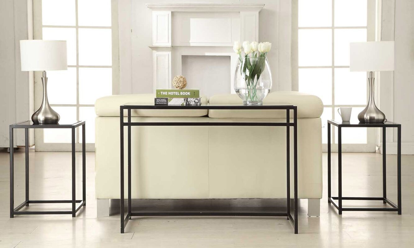 Ebern designs burke glass 3 piece console table set reviews burke glass 3 piece console table set geotapseo Image collections