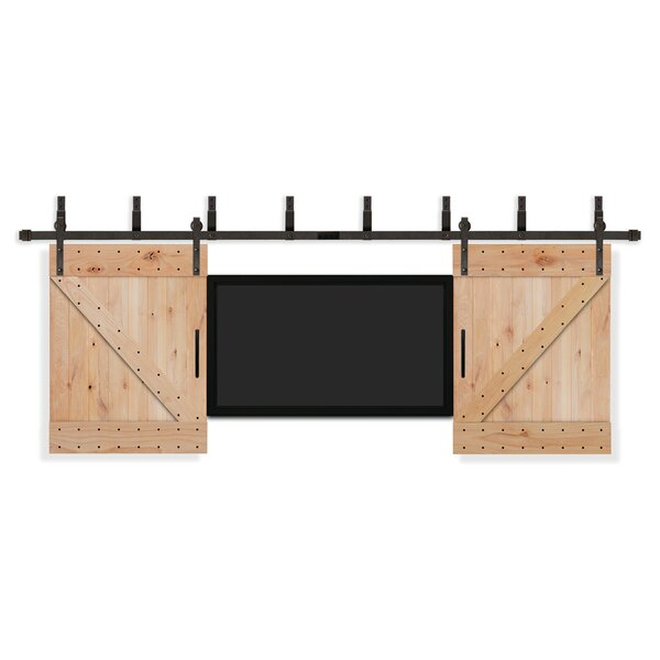 Rustic Knotty Alder Unfinished TV Interior Barn Door by Creative Entryways