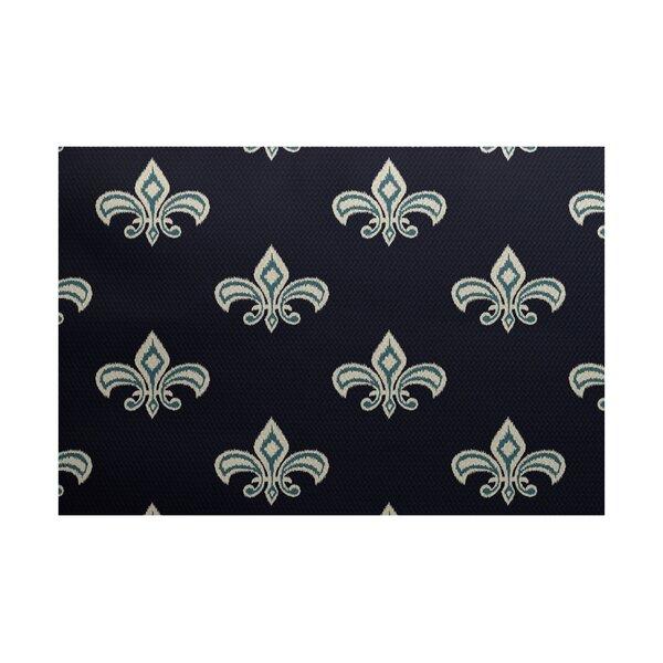Bayliff Fleur de Lis Ikat Print Navy Blue Indoor/Outdoor Area Rug by Astoria Grand