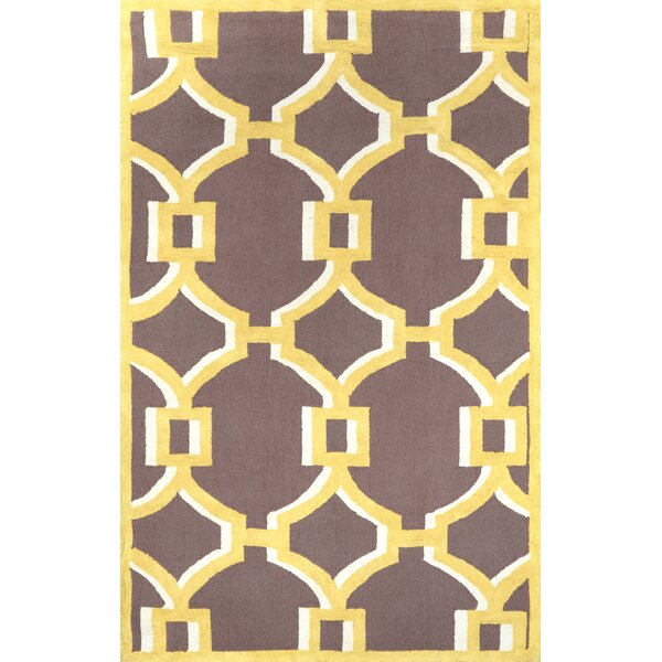 Geometric Rosa Hand Hooked Cotton Gold Area Rug by nuLOOM