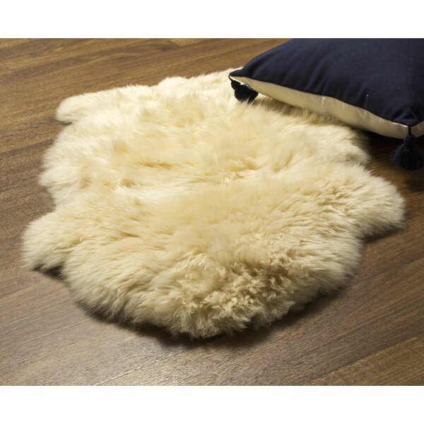 Cold Bay Single Pelt Handmade Shag Sheepskin Champagne Area Rug by Bloomsbury Market