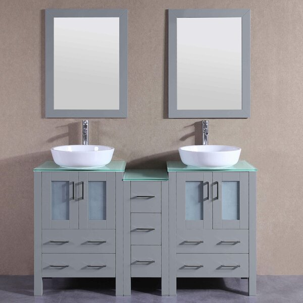 Alexa 60 Double Bathroom Vanity Set with Mirror by Bosconi