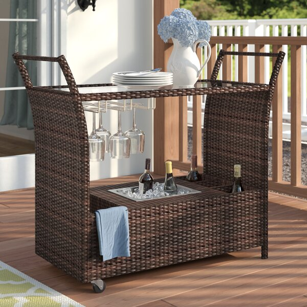 Bratton Heights Aluminum And Resin Wicker Bar Cart By Three Posts