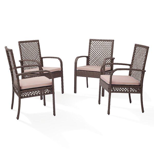 Tribeca Patio Dining Chair with Cushion (Set of 4) by Beachcrest Home Beachcrest Home