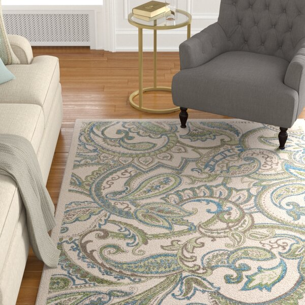 Minerva Beige/Green Area Rug by Alcott Hill