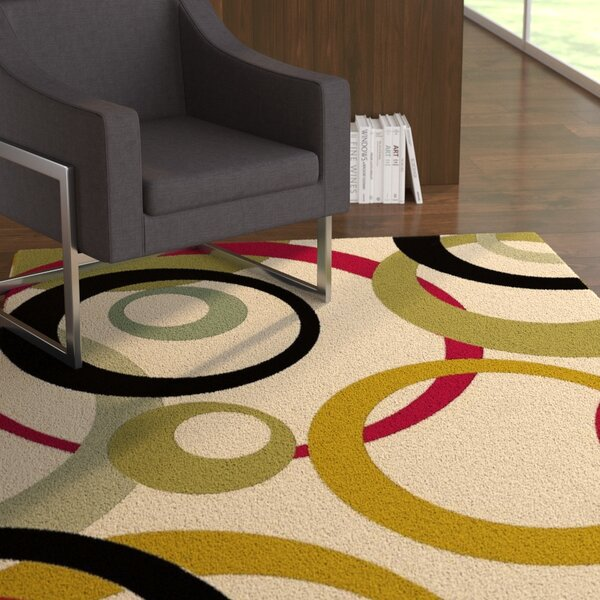 Jordan Circles Ivory Area Rug by Latitude Run