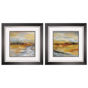 Silver River 2 Piece Framed Painting Print Set by Propac Images