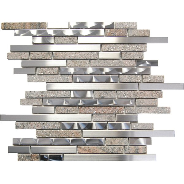 Random Sized Mixed Material Mosaic Tile in Silver/Brown by Luxsurface