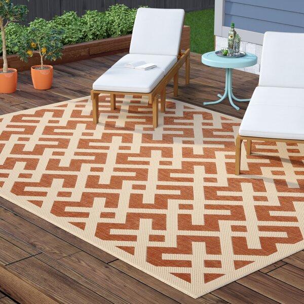 Sherree Terracotta/Bone Indoor/Outdoor Area Rug by Wrought Studio