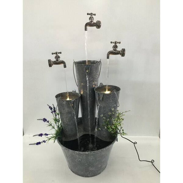 Metal Pails in Large Pail Three Taps Fountain with LED Light by Hi-Line Gift Ltd.