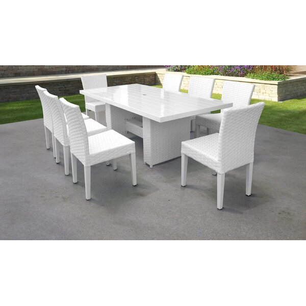 Miami 9 Piece Outdoor Patio Dining Set with Cushions by TK Classics