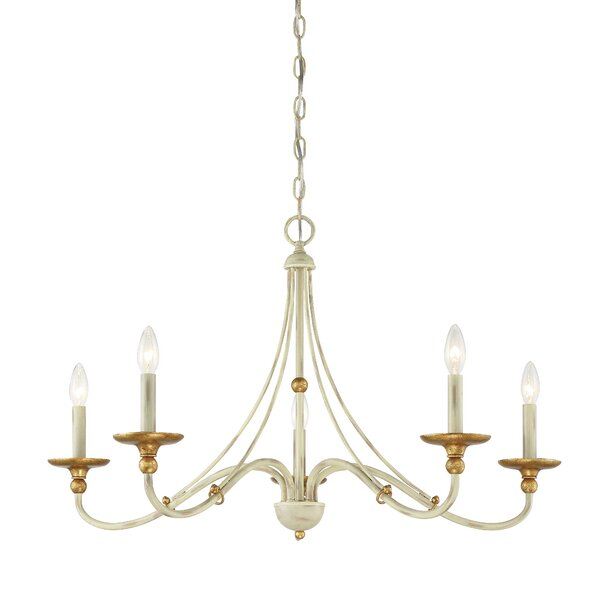 Brigit 5 - Light Candle Style Wagon Wheel Chandelier by Everly Quinn Everly Quinn