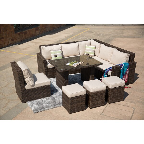 Iverson 8 Piece Rattan Sectional Seating Group with Cushions by Brayden Studio