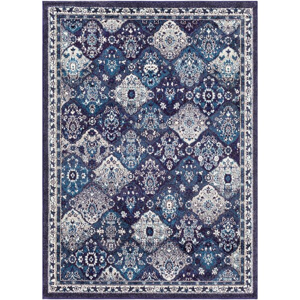 Berry Medallion Blue/Gray Area Rug by Bungalow Rose