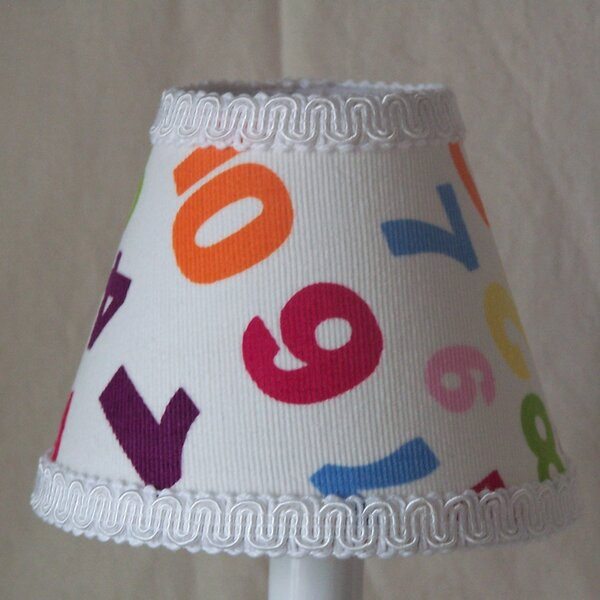 One, Two Buckle My Shoe 7 H Fabric Empire Lamp Shade ( Screw On ) in White
