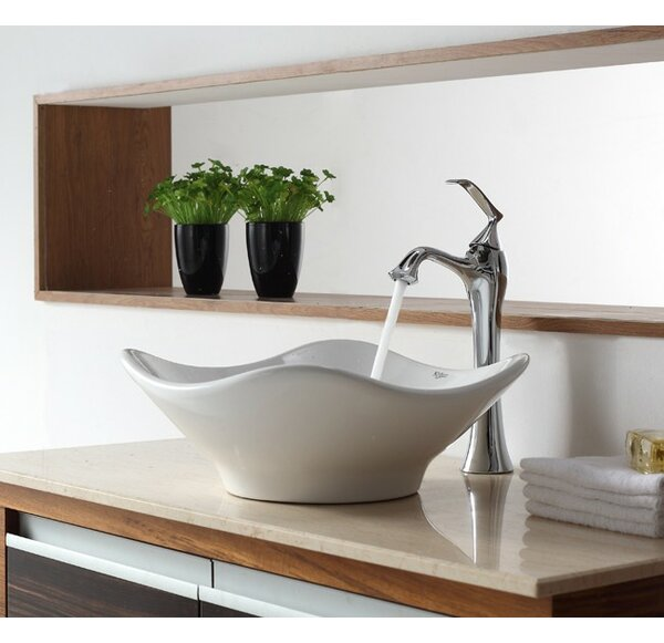 Bathroom Combos Ceramic Specialty Vessel Bathroom Sink with Faucet by Kraus