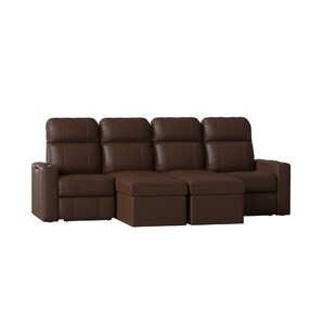 Power Recline Leather Home Theater Sofa (Row of 4) by Red Barrel Studio