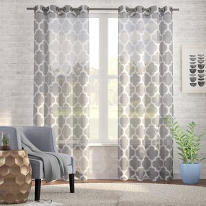 Arrey Basketweave Moroccan Geometric Semi-Sheer Grommet Curtain Panels