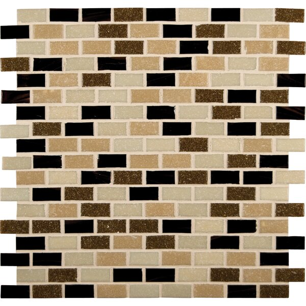 Desert Spring 12  x 12 Mounted Glass Mosaic Tile in Brown by MSI