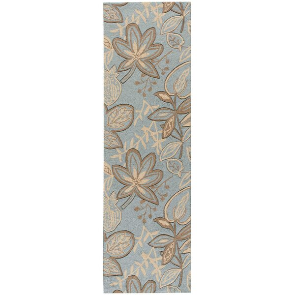 York Hand-Hooked Gray/Blue Area Rug by Charlton Home