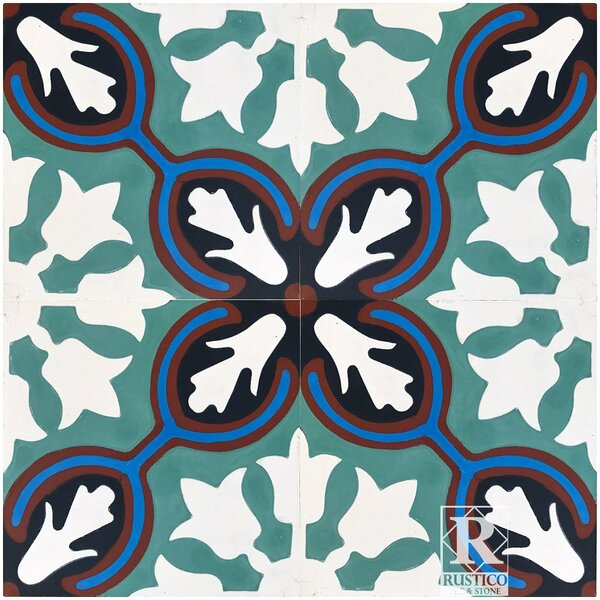 Avallon 8 x 8 Cement Field Tile in Turquoise/White (Set of 4) by Rustico Tile & Stone