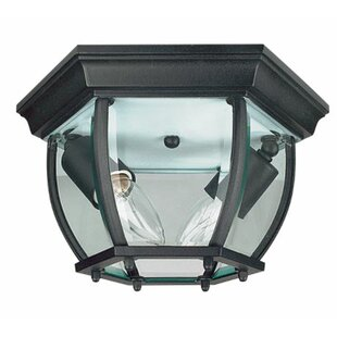 Reviews Higbee Curved 2-Light Outdoor Flush Mount By Charlton Home