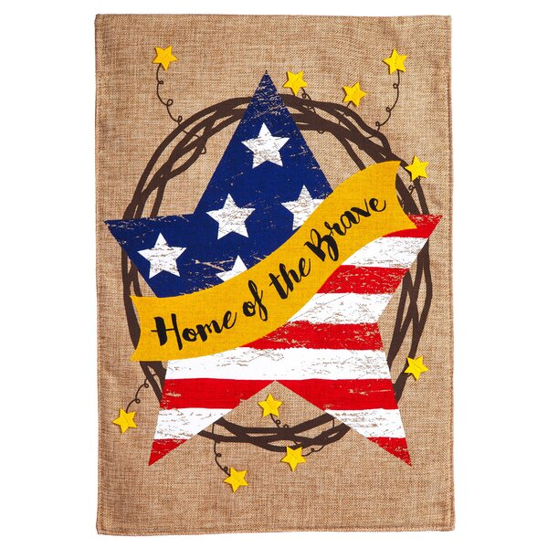 Home of the Brave Wreath Burlap Garden Flag by Evergreen Enterprises, Inc