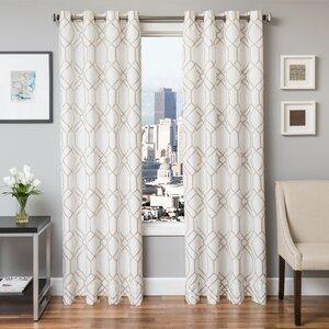 Sierra Geometric Grommet  Single Curtain Panel